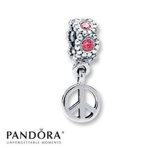 Pandora Sterling Silver Peace Sign Charm